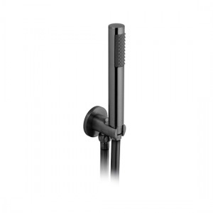 Individual by Vado IND-SFMKWO/RO-BLK Round WM Mini Shower Kit with Outlet & Bracket Brushed Black
