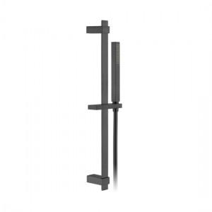 Individual by Vado IND-SFSRK/SQ-BLK Square 600mm Slide Rail Shower Kit with Handset & Hose Brushed Black