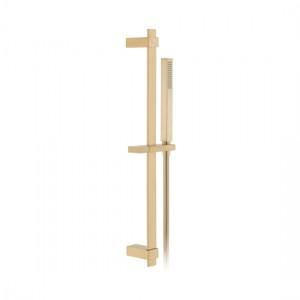 Individual by Vado IND-SFSRK/SQ-BRG Square 600mm Slide Rail Shower Kit with Handset & Hose Brushed Gold
