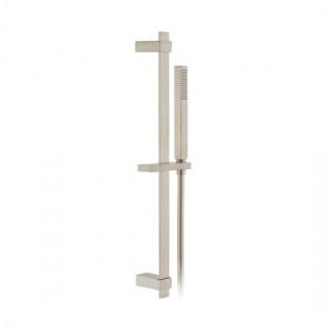 Individual by Vado IND-SFSRK/SQ-BRN Square 600mm Slide Rail Shower Kit with Handset & Hose Brushed Nickel