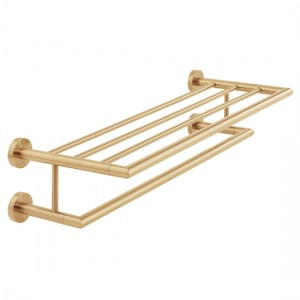 Individual by Vado IND-SPA185B-BRG Spa Towel Shelf with Rail 600mm Brushed Gold