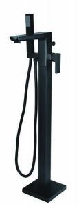 The White Space Veto Floorstanding Bath Shower Mixer with hose and handset - Black [VET6B]