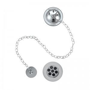 Burlington Bath plug and chain waste - Chrome/White [W3]