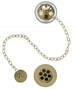 Burlington Bath plug and chain waste - Gold/White [W3GOLD]