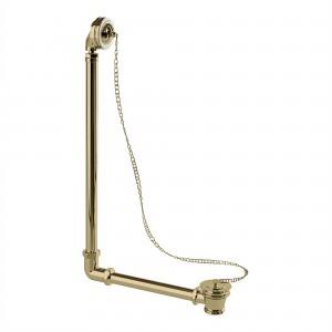 Burlington Exposed bath plug and chain waste - Gold/White [W4GOLD]