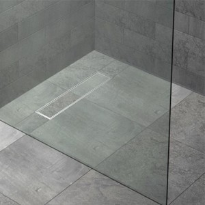 FLOOR4MA Wetroom Shower Base with Linear Drain for Tiling - Length Pack - Panel 900 x 250 x 12mm and 19mm base edging strip (250mm)  WRLT250EXT