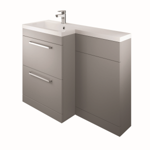 The White Space WSLFB60AG Scene L Shape Basin Unit with 2 Drawers - Grey