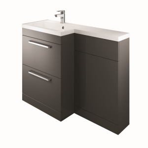 The White Space WSLFB60CH Scene L Shape Basin Unit with 2 Drawers - Charcoal
