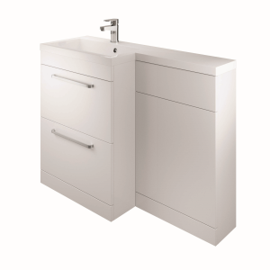 The White Space WSLFB60WH Scene L Shape Basin Unit with 2 Drawers - White