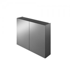 The White Space Scene 60cm Double Door Mirror Cabinet - Gloss Charcoal  [WSSMC60CH]