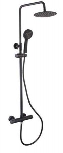 The White Space Yes Bar Shower Dual Control Bar Valve with integral Fixed Head and Slide Rail - Black [YES1B]